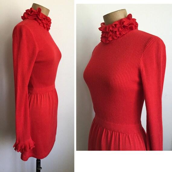 70s RONCELLI mini dress - Vintage high neck dress… - image 3