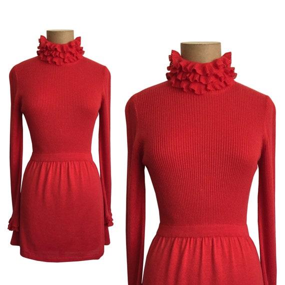 70s RONCELLI mini dress - Vintage high neck dress