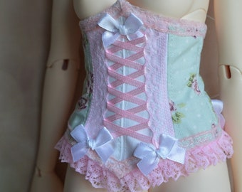 f2f5336d342 Iplehouse SID corset - SD BJD 1 3 girl doll - Victorian steampunk pastel  boned corset - pink blue white bustier with lace and eyelets