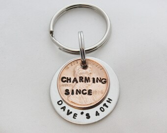 40th Birthday Men Gift For Man 1978 Penny Keychain Personalized YOU CHOOSE YEAR