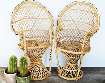 Peacock Chair Set of two 16  tall Wicker Plant Holders Boho Plant Stand Rattan Plant Holders ; Vintage & Wicker chair | Etsy