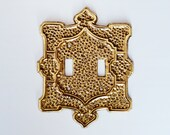 Vintage Brass Light Switch Cover circa 1960s, 39 Charm N Style 39 Double Switch, Hollywood Regency Design