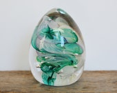 Vintage Paperweight, Egg Shaped Glass, Turquoise Swirls, 3.75 quot tall solid glass, Signed RGP, Office Decor, Glass Gift, Art Glass