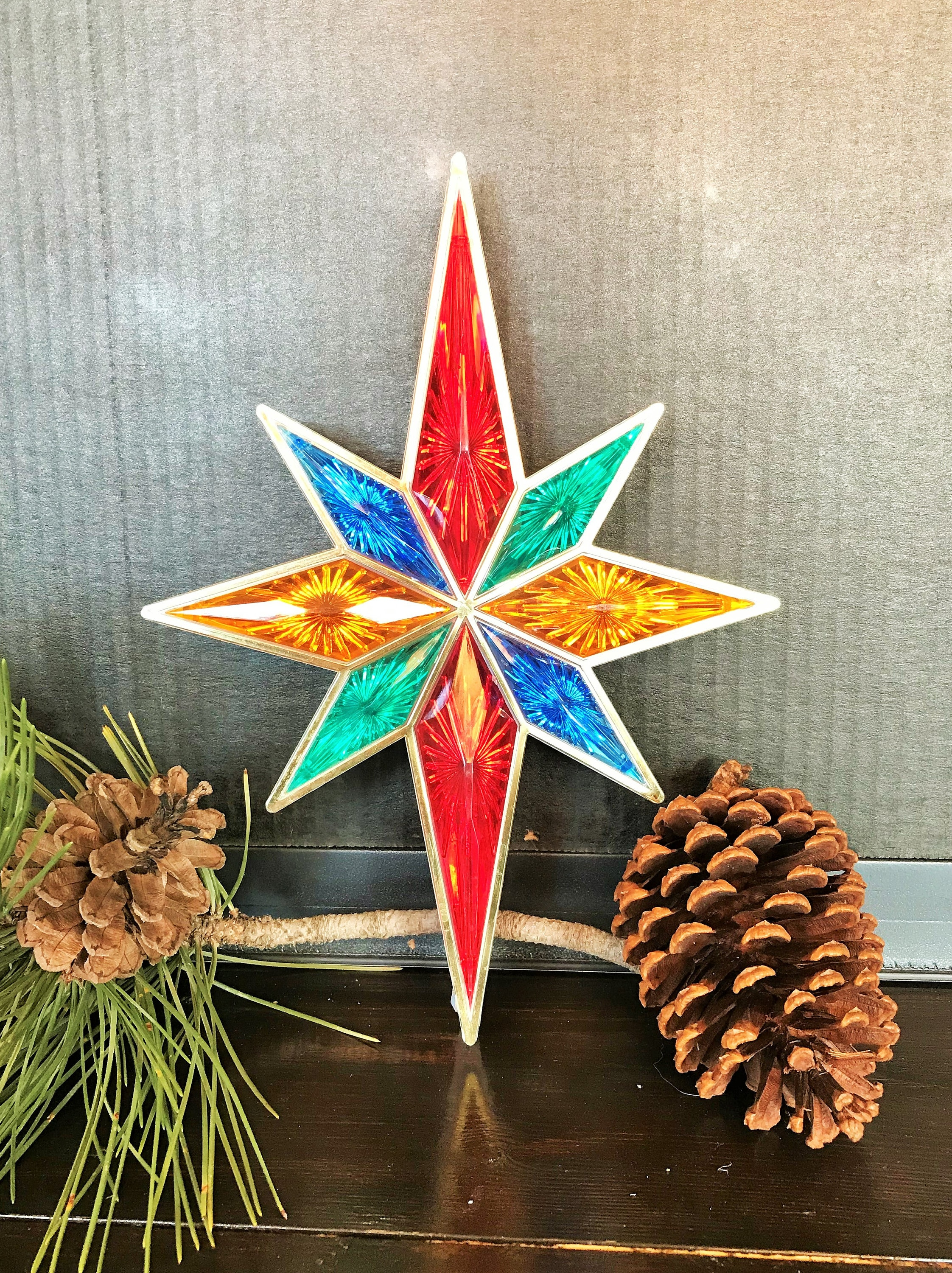 Vintage Christmas Tree Topper Multi Color Clear Plastic Panes And Two Sided Circa 1980s No Lights