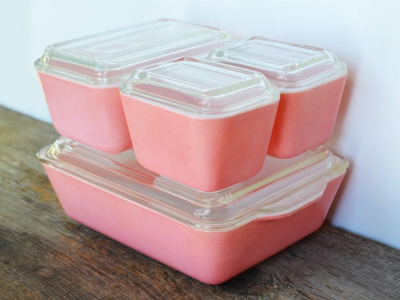 Kühlschrank Rosa : Jahrgang rosa pyrex kühlschrank set mit deckel ca etsy