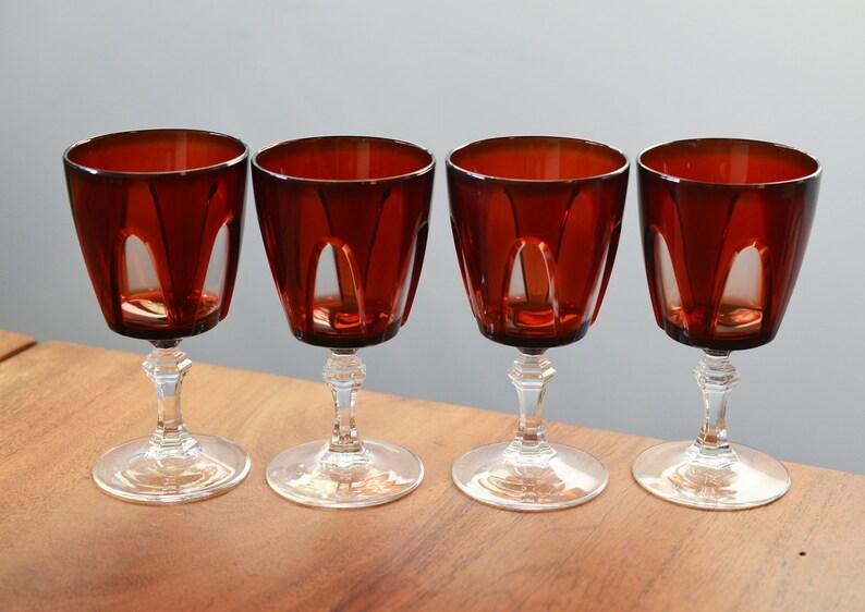 Vintage Red Wine Goblets Set of 4 Luminarc Arcoroc Cristal image 0