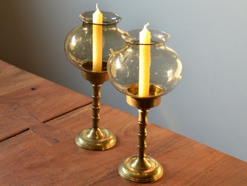 Vintage Brass and Glass Candlestick Holders, Set of 2, Smoke Glass Inserts,  Elegant Contemporary Mid Century Decor