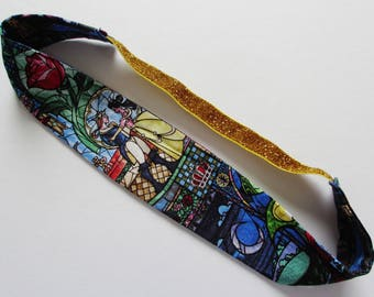 Beauty and the Beast Stained Glass Print Gold Glitter Elastic Headband