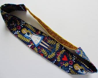 Alice in Wonderland Dark Blue Floral Print Gold Glitter Elastic Headband