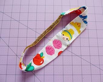Princess Emoji Print Gold Glitter Elastic Headband