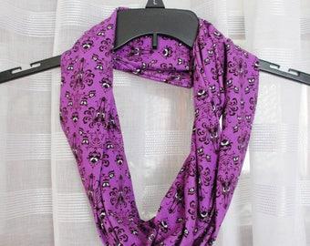 Haunted Mansion Purple Wallpaper Print Cotton Lycra Knit Infinity Scarf