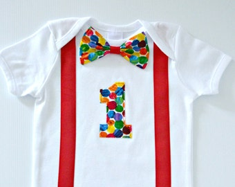 Baby Boy Very Hungry Caterpillar 1st Birthday & Cake Smash Outfit | Bodysuit / Onesie with Bow Tie and Red Suspenders - Made to Order