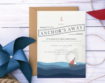Nautical Birthday Invitation, Printable Custom Design