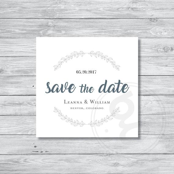 Printable Custom Design Save the Date Elegant Square Announcement Minimal