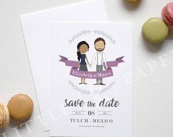 Personalized Illustration Engagement, Save the Date, Printable Custom Design