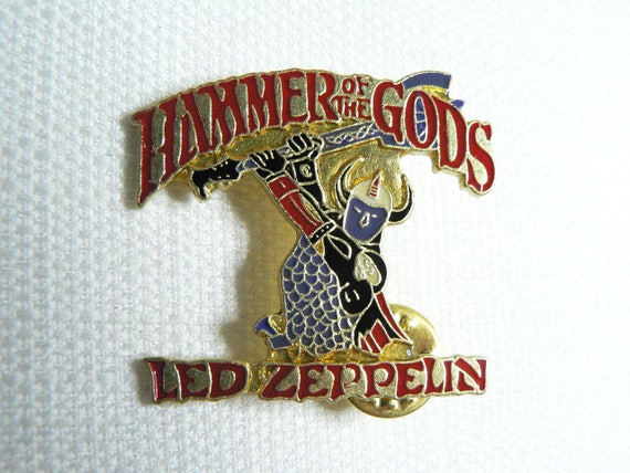 BIG Vintage 80s Led Zeppelin - Hammer of the Gods (Date Stamped 1988) - Enamel Pin / Button / Badge