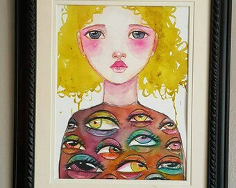 The eyes, 2. Mixed media one of a kind painting, weird art, mixed media portrait art, feminine art. Blonde girl painting, ooak wall art
