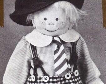 """15"""" Boy cloth rag doll named Franklin sewing Pattern by Rainie Crawford"""