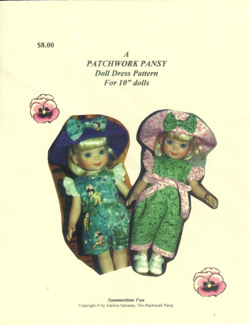 Short Set Kish dolls like in size Sewing PATTERN Hat 10 Betsy Linda McCall
