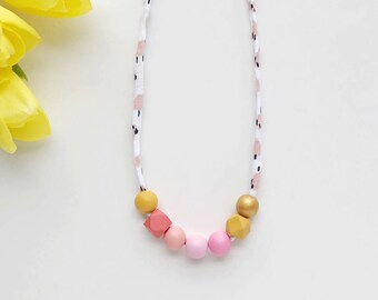 THE MAE petite modern girls necklace, kids necklace, petite handpainted wooden bead necklace on fabric string