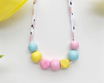 THE ANABEL petite modern girls necklace, kids necklace, petite handpainted wooden bead necklace on fabric string