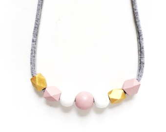 THE EMMA handpainted geometric wooden bead necklace, girls necklace, kids necklace, blush pink, gold, white - petite size for kids or women