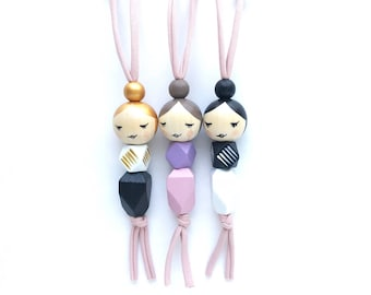 SLEEPY GEO MAMA doll necklace with gold, taupe, or black hair - handpainted wooden bead necklace, mama doll necklace, girls necklace