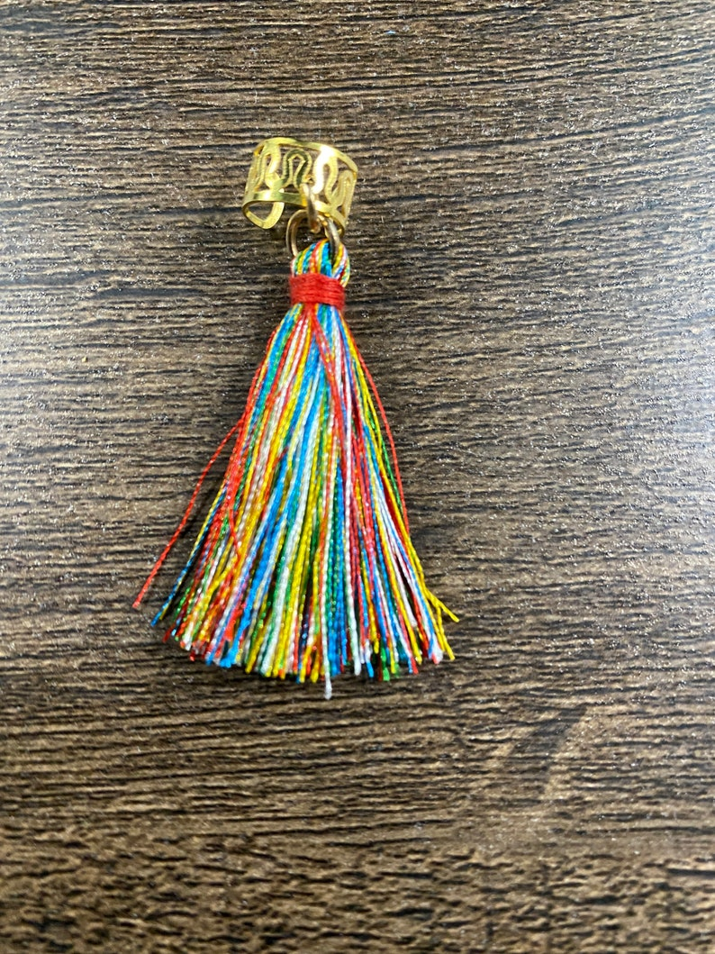 Loc Jewelry Gold Feather Rainbow Tassel and Beaded Cowrie Shell 3 Piece Set
