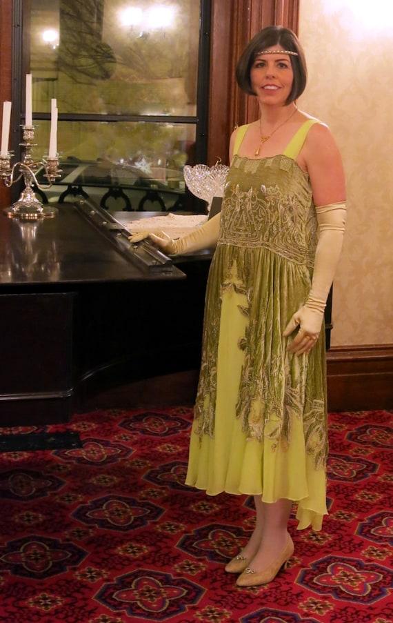 1920s Fabulous Chartreuse Silk Crushed Velvet Dres