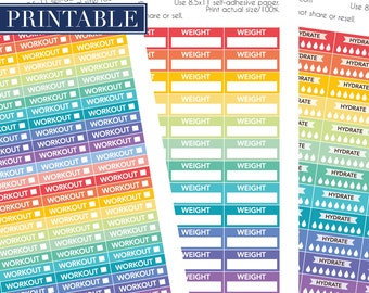 Workout, hydrate, weight  fitness printable planner stickers in rainbow colors.  Printable stickers for Erin Condren planner, Happy planner.