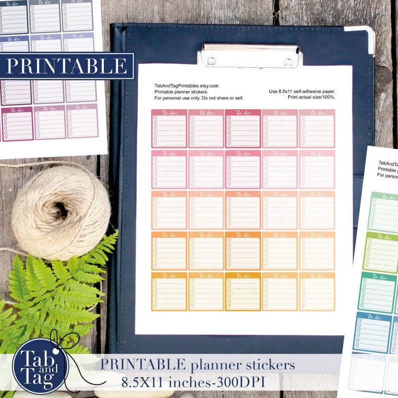 75 TO DO printable planner stickers for HORIZONTAL Erin Condren Planner in pastel rainbow colors.