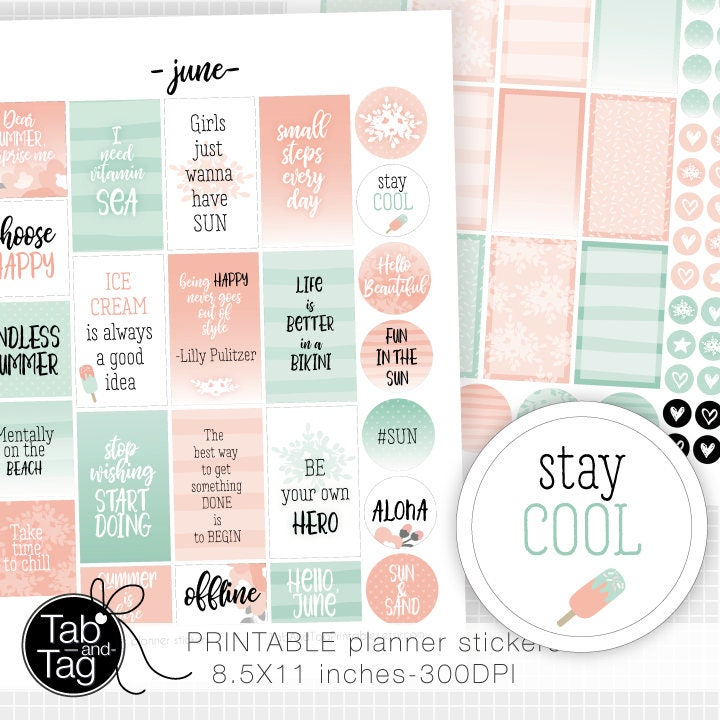 Stay Cool Summer Quotes And Journaling Boxes Hello June Stay Etsy