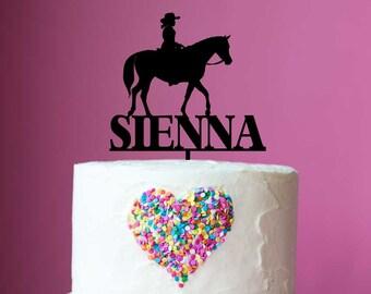 Cool Horse Theme Birthday Cake Topper Name Girl With Horse Etsy Personalised Birthday Cards Xaembasilily Jamesorg