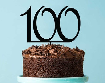 100th Birthday Cake Topper - Number 100 Hundredth Birthday Cake Decoration - Turning 100 Birthday Party Cake Decorations Pick and Toppers