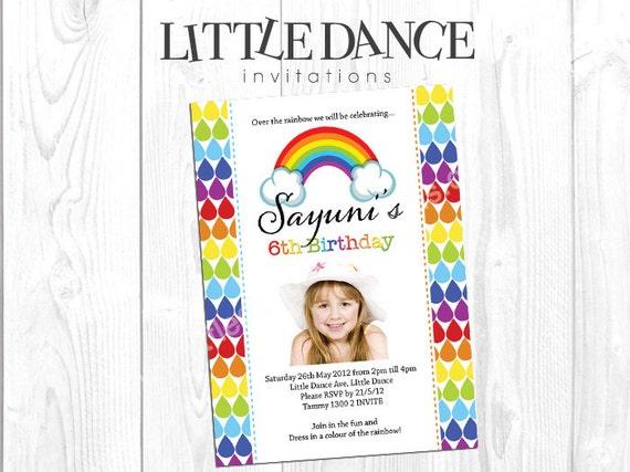 digital file rainbow party printable invitation file etsy
