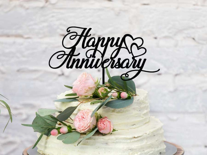 Fun Happy Wedding Anniversary Cake Topper Laser Cut Custom Etsy