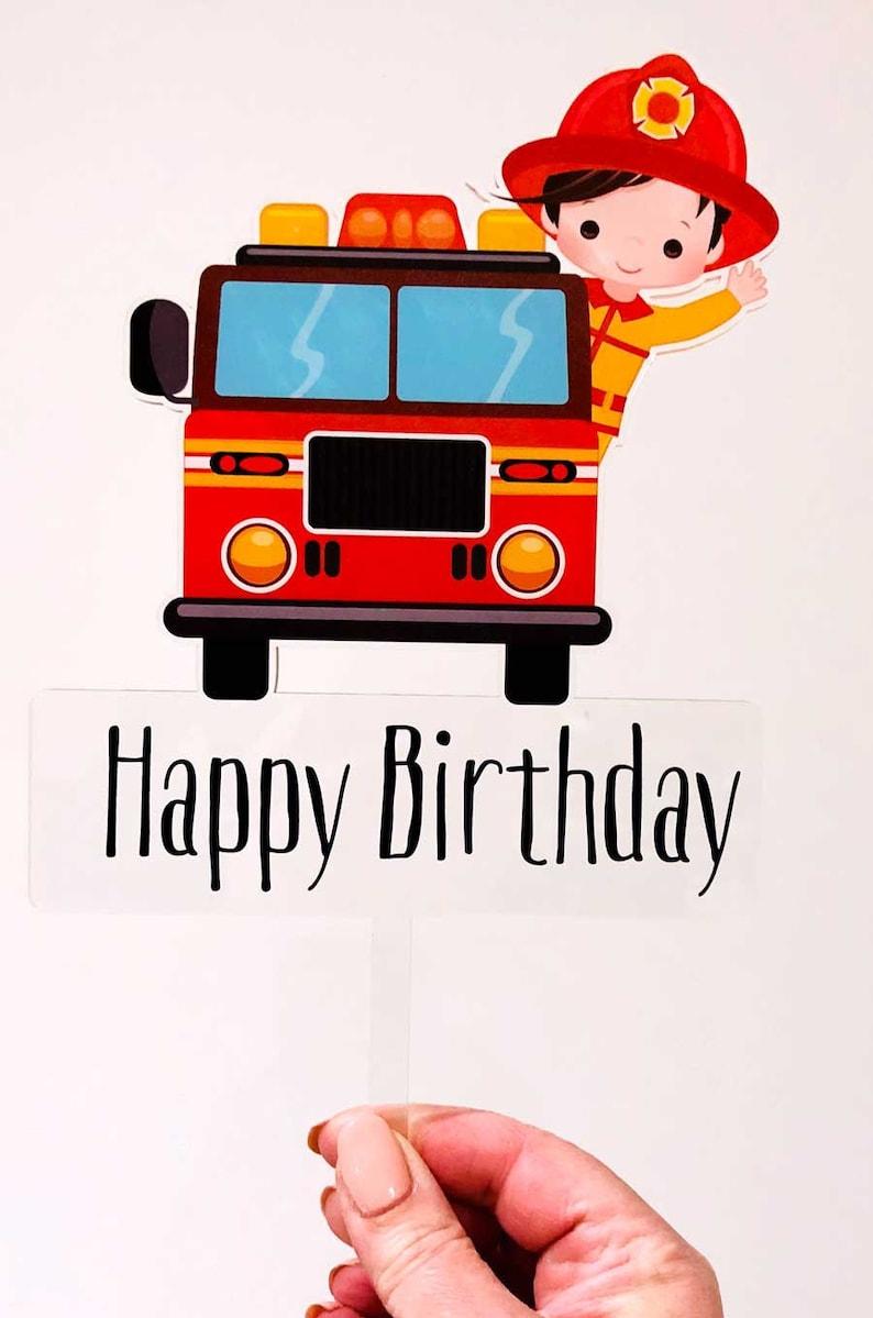 Fireman Birthday Cake Topper Fireman Cake Party Decoration Etsy
