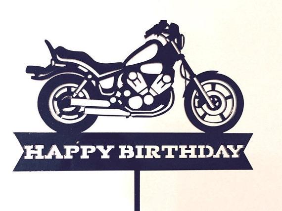 Harley Inspired Happy Birthday Motorbike Cake Topper