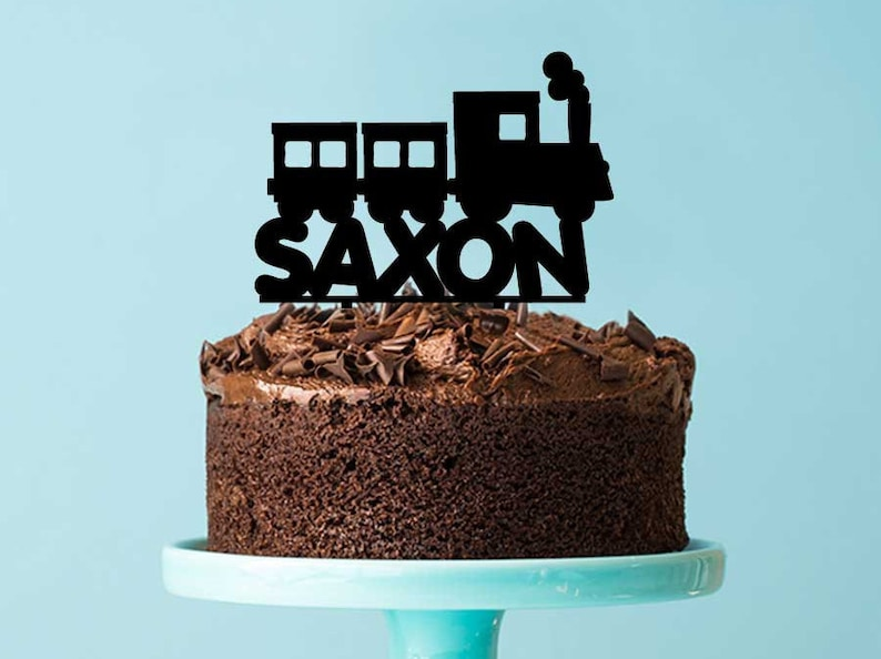 Custom Train Themed Birthday Cake Topper With Name