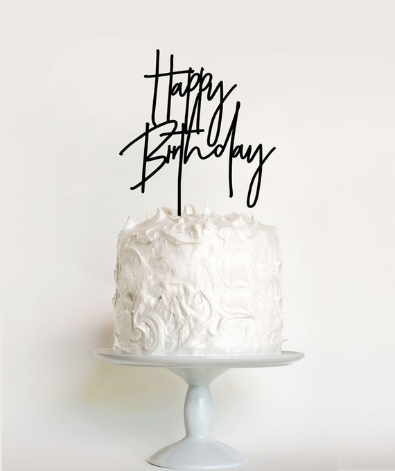 Tremendous Happy Birthday Cake Topper Modern Happy Birthday Made In Etsy Funny Birthday Cards Online Alyptdamsfinfo