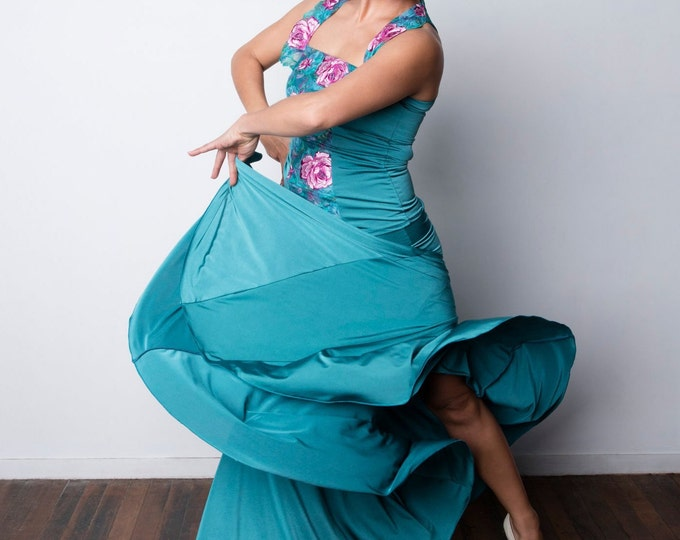 Shiny Aqua FISHTAIL Flamenco skirt