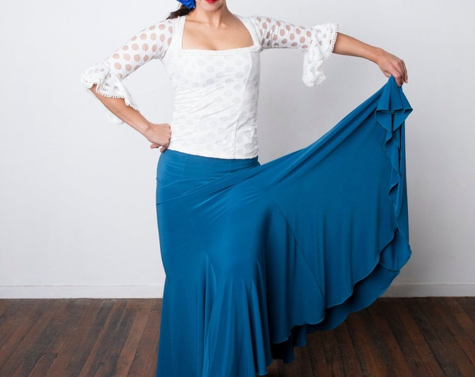 Teal FISHTAIL Flamenco skirt