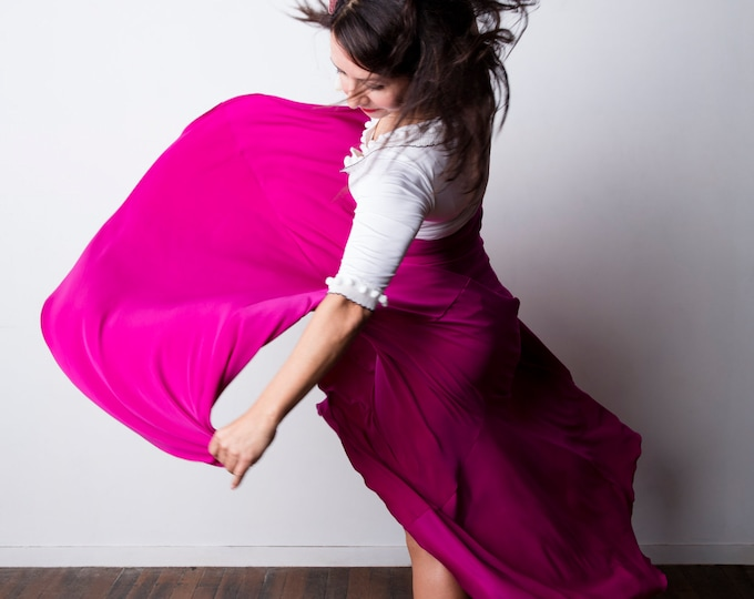 Magenta FISHTAIL Flamenco skirt
