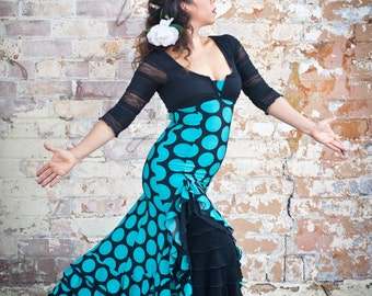 Black CHACHY Flamenco dress with teal spots and black ruffles