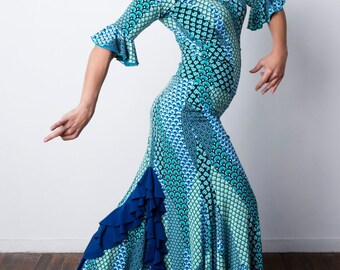 DRAGONTAIL Flamenco skirt in mermaid print with electric blue frills