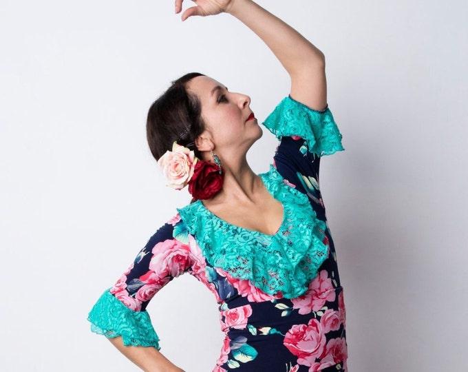 Indigo GUAJIRA Flamenco top with pink roses