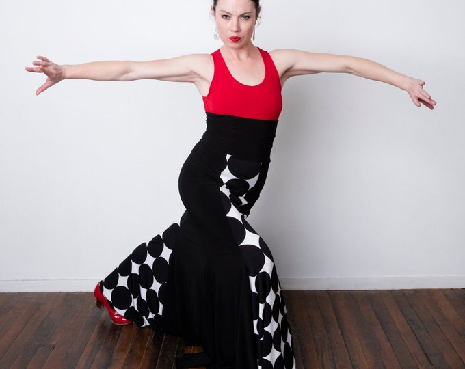 FISHTAIL Flamenco skirt with black panels and giant white lunares