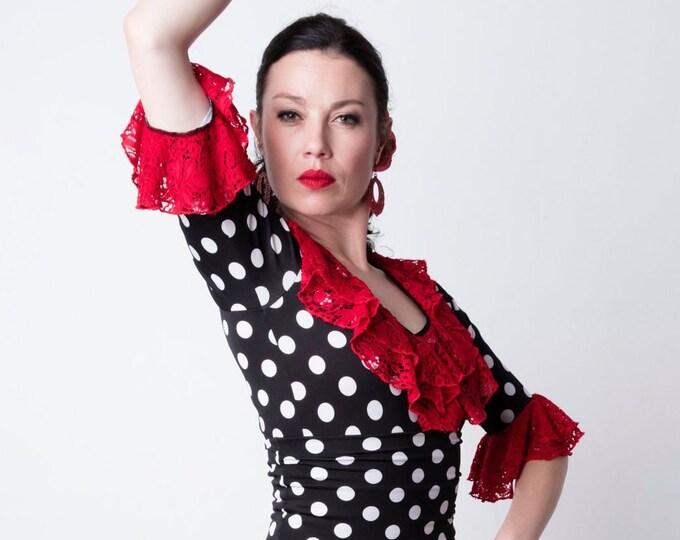 Black GUAJIRA Flamenco top with white lunares