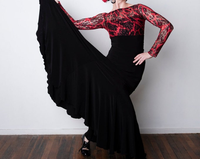 Black FISHTAIL Flamenco skirt