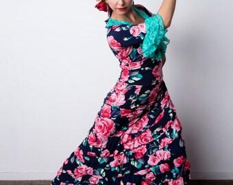 Indigo ISABELA Flamenco skirt with pink roses